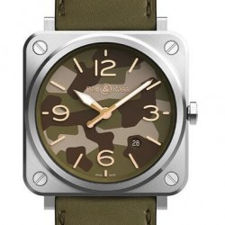 Replica Bell & Ross Instruments Green Camo Mens Watch BR0392-D-BU-BR-LGS